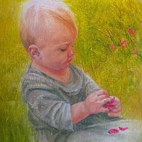 Oil painting Little Gardener by Susan Peck O'Brien