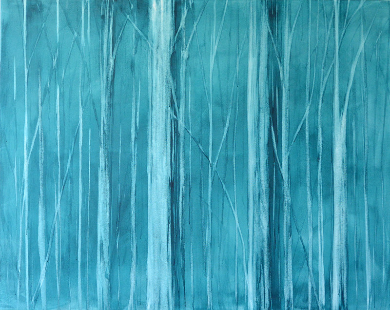 Acrylic painting Blue Forest by Sally Adams