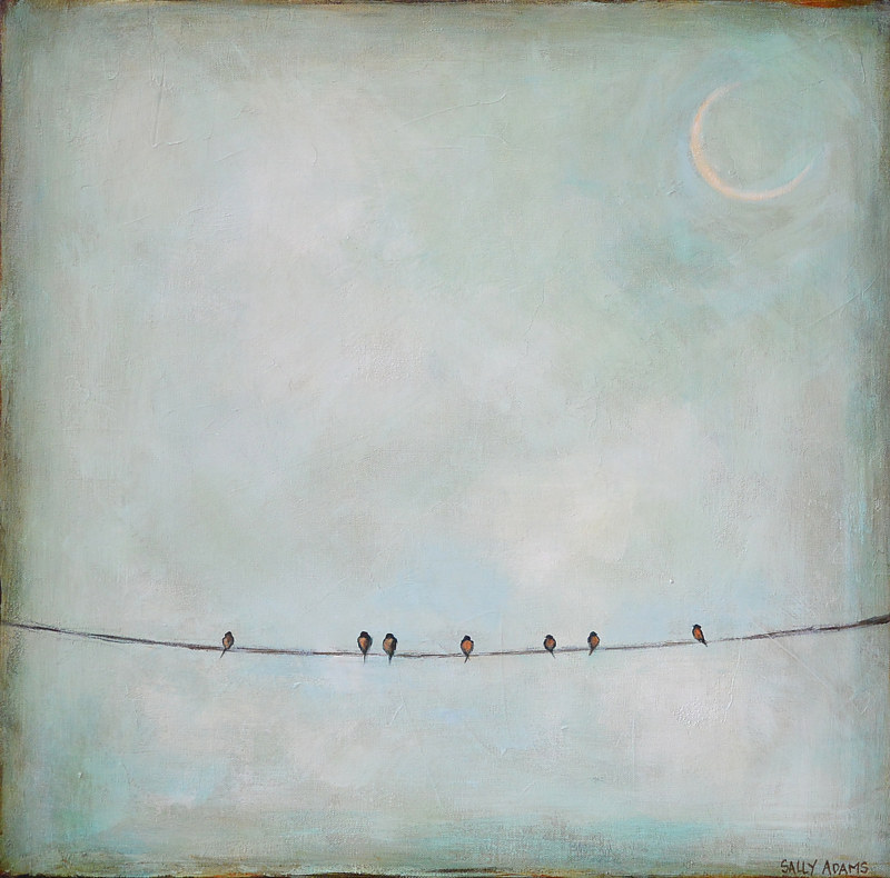 Acrylic painting Seven on the Line by Sally Adams