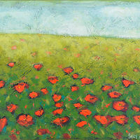 Acrylic painting Textured Poppies by Sally Adams