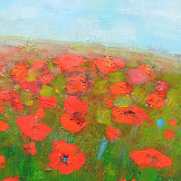 Acrylic painting Poppies I by Sally Adams
