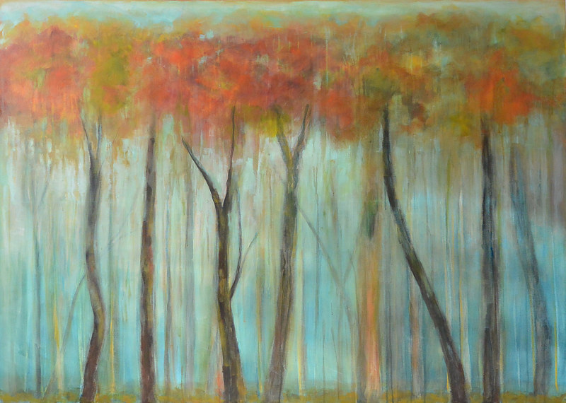 Acrylic painting Ethereal Forest by Sally Adams