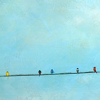 Acrylic painting Coexist by Sally Adams