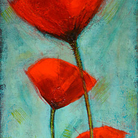 Acrylic painting Three Big Poppies by Sally Adams