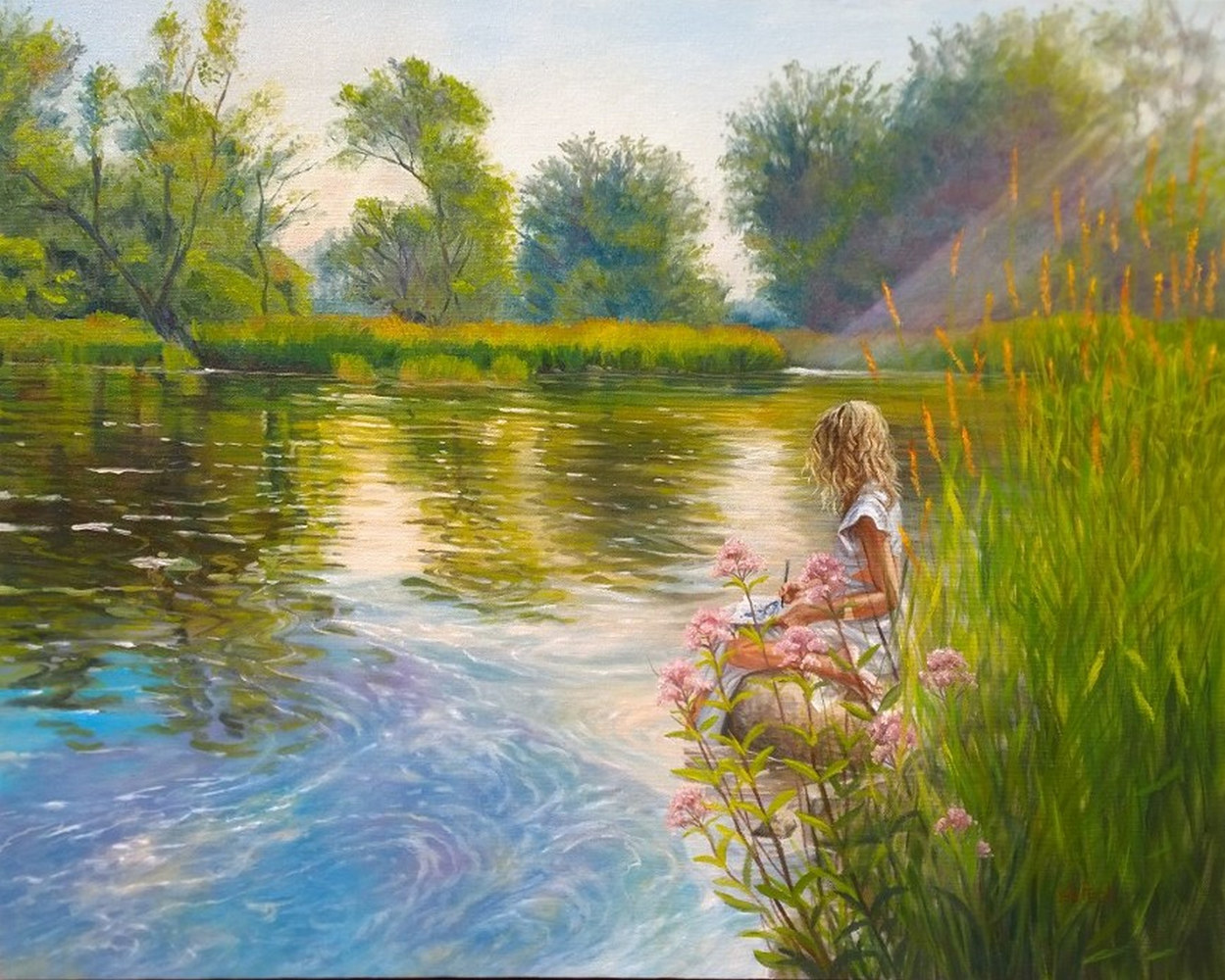Oil painting Millpond Afternoon by Susan Peck O'Brien