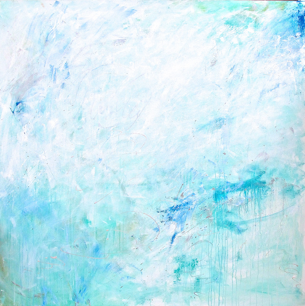 "Acrylic painting Take a Leap 48""x48""x1.5"" by Laura Spring"