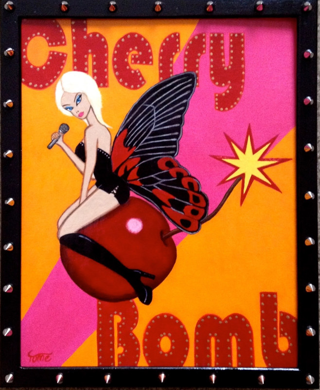 Acrylic painting Cherry Bomb by Yumi Knight