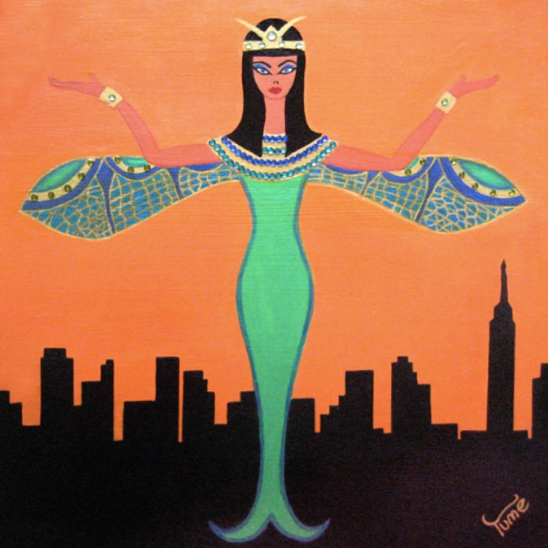 Acrylic painting Cleopatra In New York by Yumi Knight