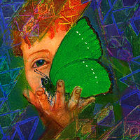 Watercolor green butterfly, prints available by Frederica  Hall