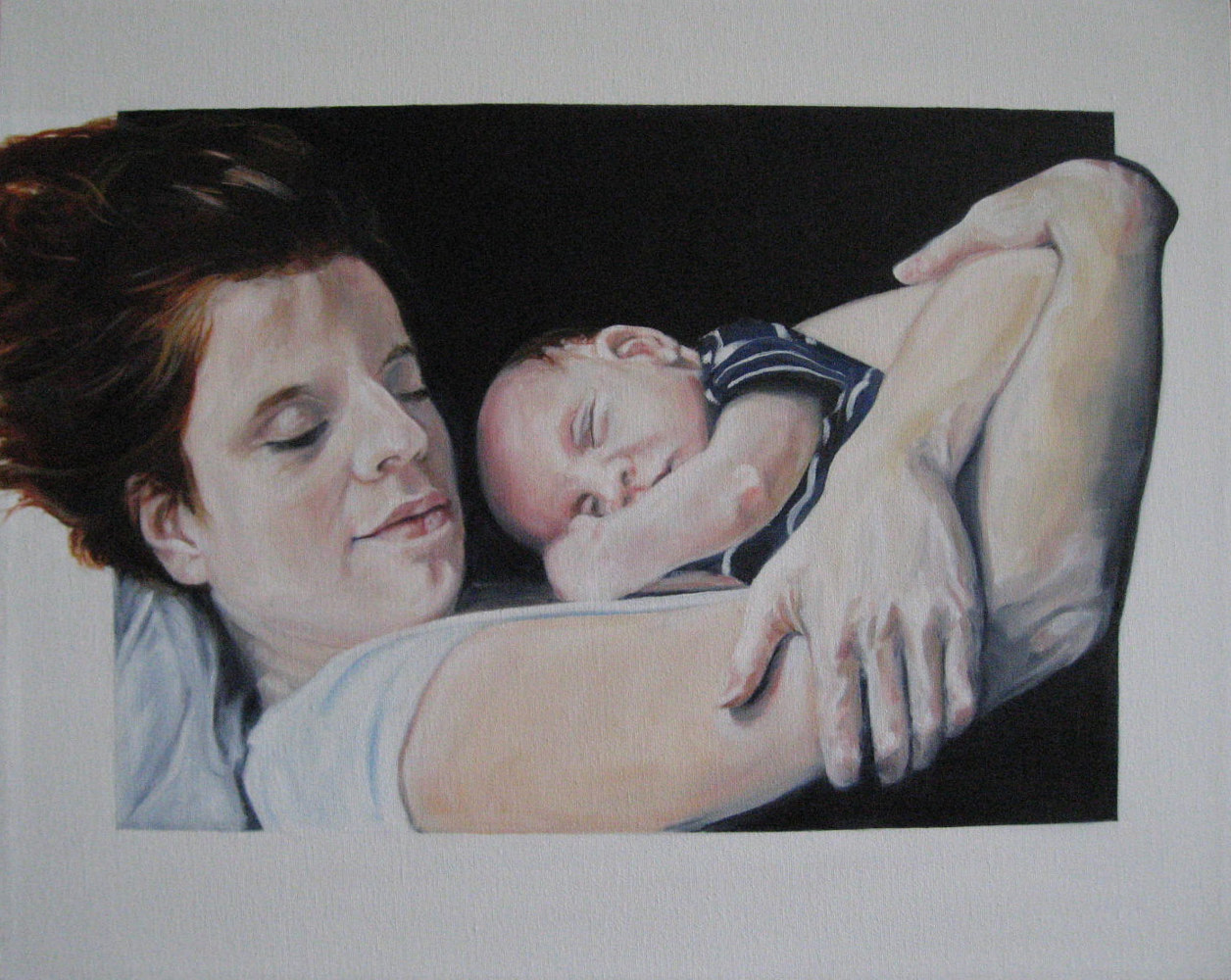 Oil painting Katie and babe by Judith  Elsasser