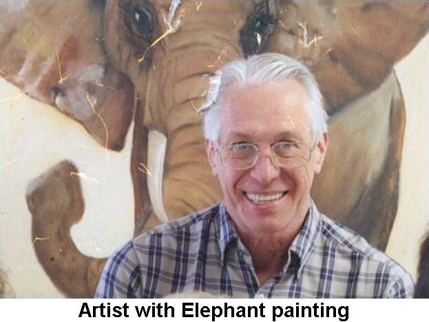 With elephant painting by Don Moore
