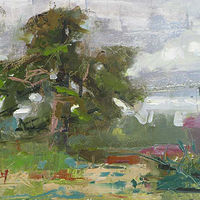 Oil painting Oak Island Oak Plein Air by William Sharp