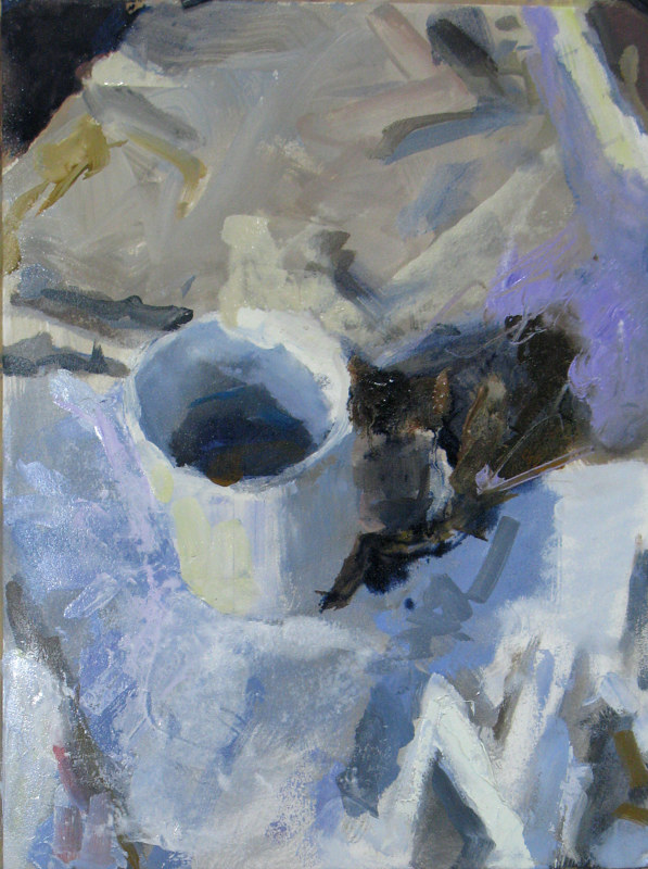 Oil painting White Cup On White Cloth by William Sharp