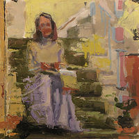 Oil painting On Her Stairs by William Sharp