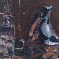 Oil painting Pitcher and Glass Bottle by William Sharp