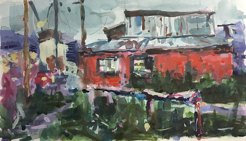 Watercolor Red House in Ushuaia - Argentina by William Sharp