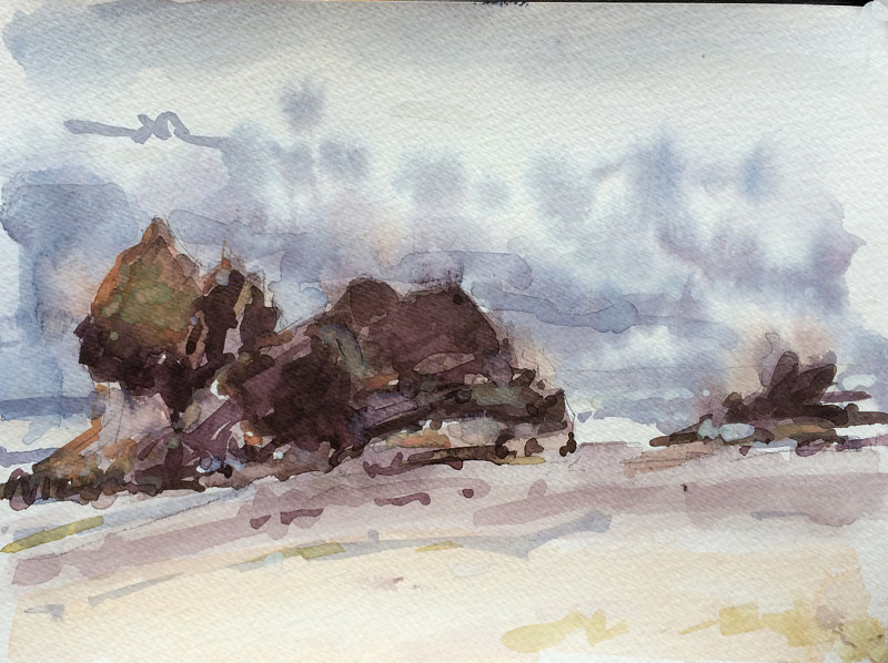 Watercolor Arcadia Beach State Park #2 by William Sharp
