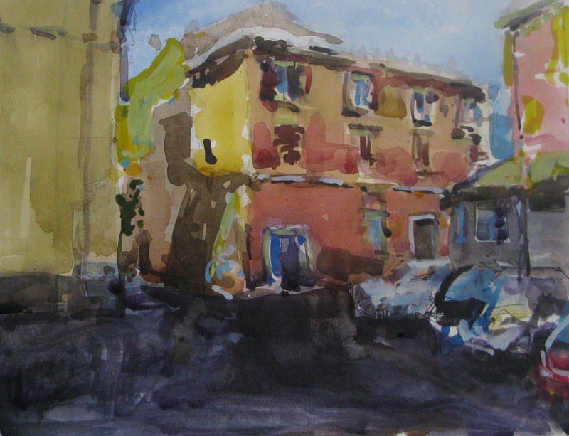 Watercolor Civita Castellana Painter's Point by William Sharp