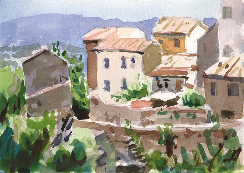 Watercolor Civita Castellana Old town from Fort by William Sharp