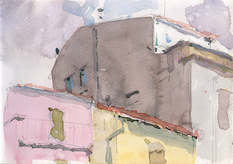 Watercolor Civita From Outside Peggy's Studio by William Sharp