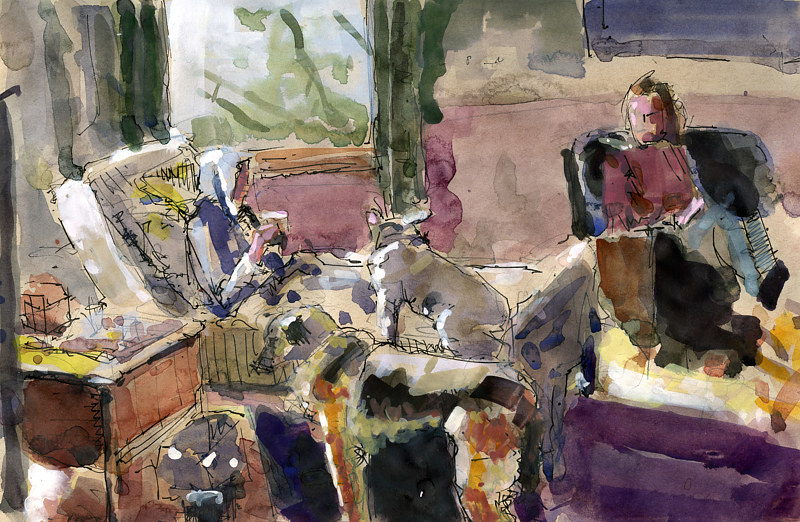 Watercolor Les and Clair in Living Room NFS by William Sharp