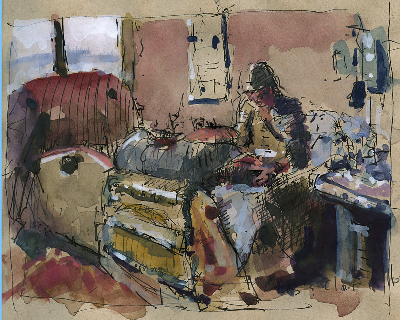 Watercolor Clair and Les on hospital bed NFS by William Sharp