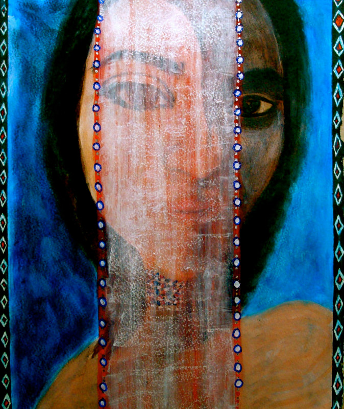 Acrylic painting Veiled-Muse by John Clinock