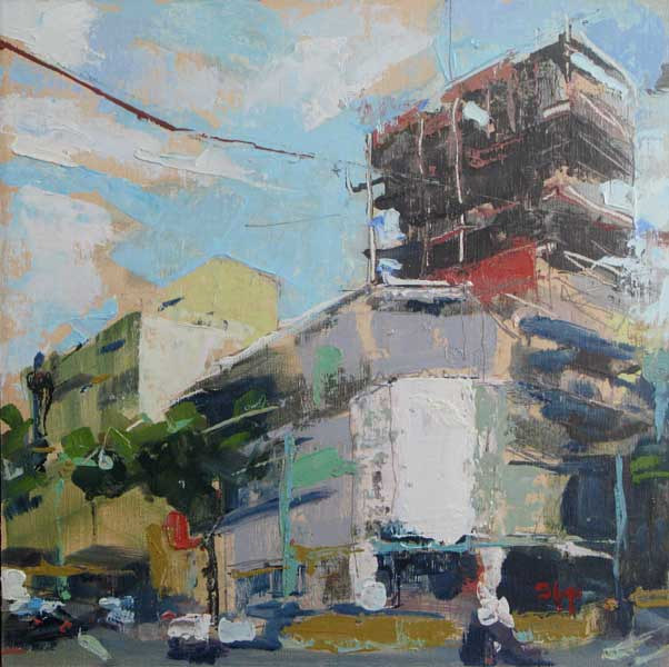 Oil painting Infill Construction - SOLD by William Sharp