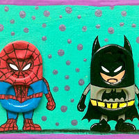 Acrylic painting Spiderman vs Batman by Yumi Knight