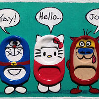 Acrylic painting Doraemon, Hello Kitty, and Stimpy by Yumi Knight