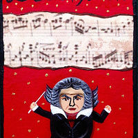 Acrylic painting Beethoven by Yumi Knight