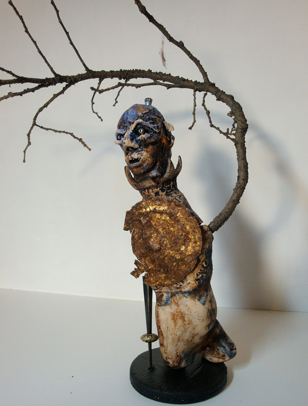 Mixed-media artwork Tree Warrior by John Clinock