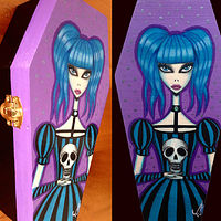 Acrylic painting Got Skull? Mini Coffin Box by Yumi Knight