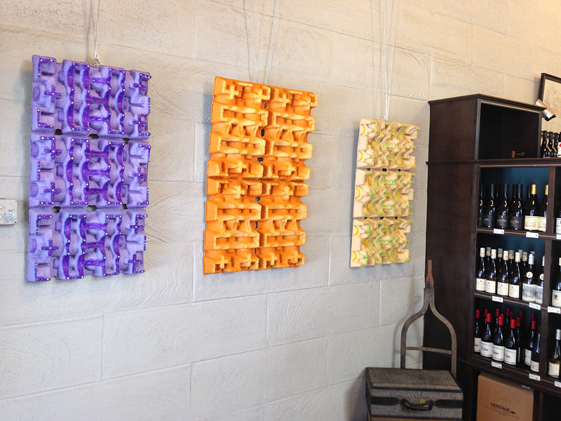 Acrylic painting Pulp Wine Shipper Recycled Art  by Yumi Knight