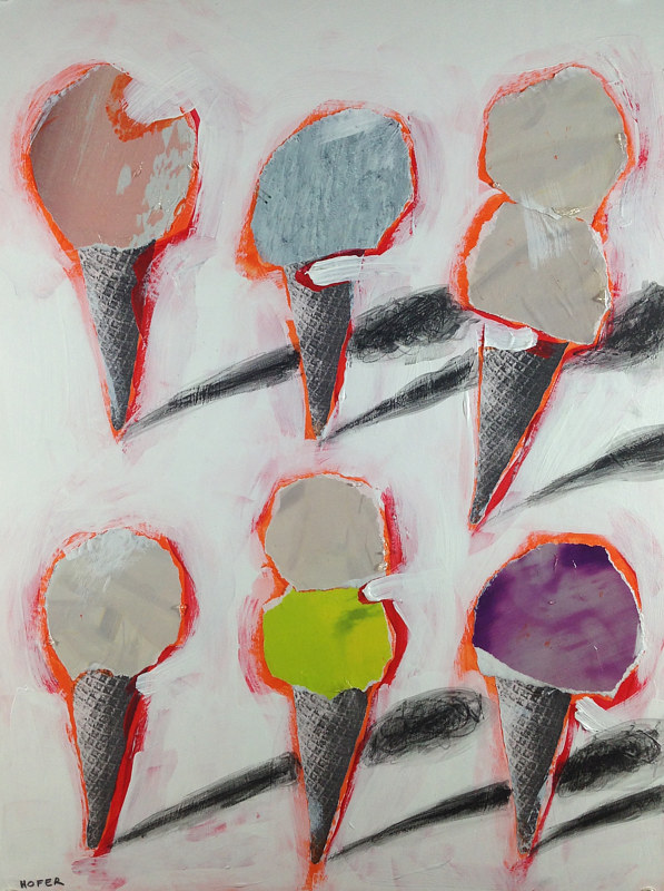 Acrylic painting Six Cones 9 by Deirdre  Hofer
