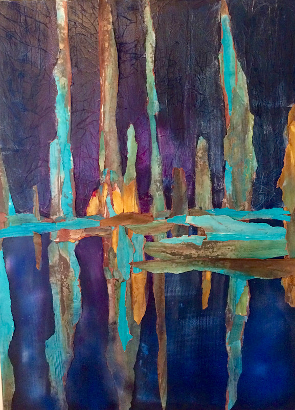 Mixed-media artwork Green Swamp Reflection by Steve Latimer