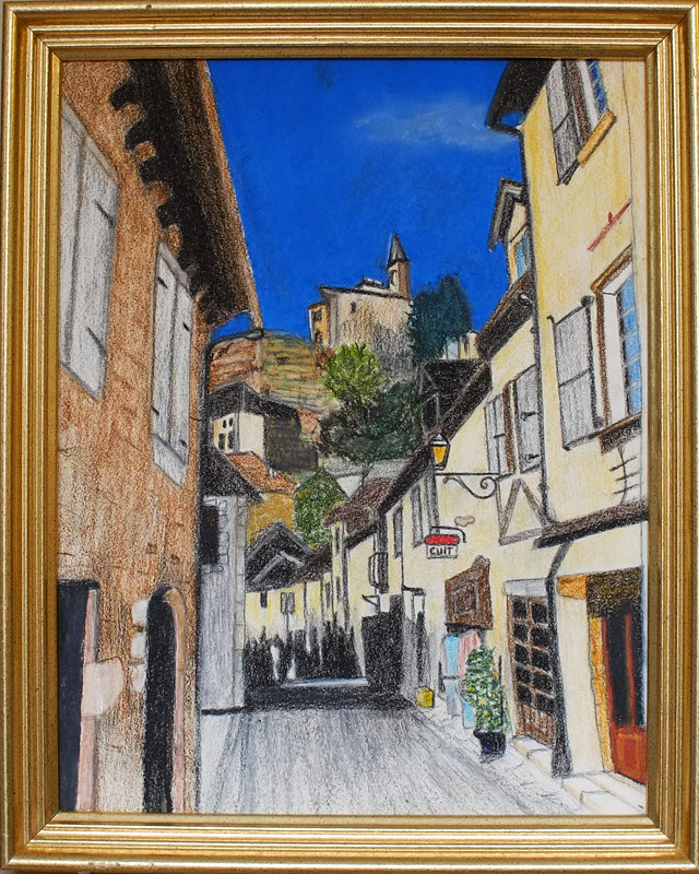Oil painting French Town Rocamadour-11x14 by Frans Geerlings