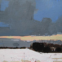 Acrylic painting last Light, February 3 by Harry Stooshinoff