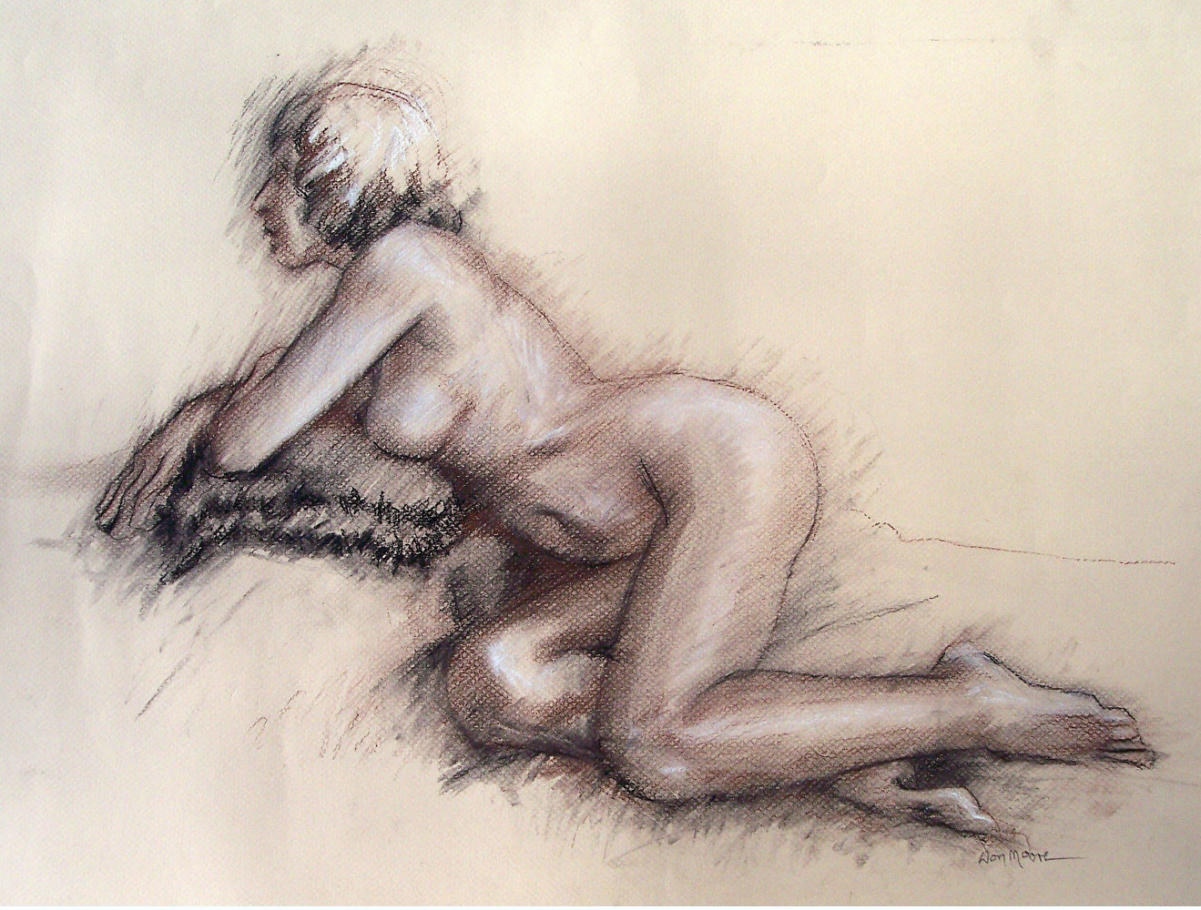 Reclining Nude 02 - 18 x 24  by Don Moore