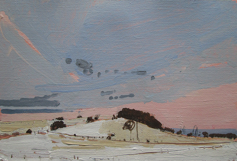 Acrylic painting Hill at Dusk by Harry Stooshinoff