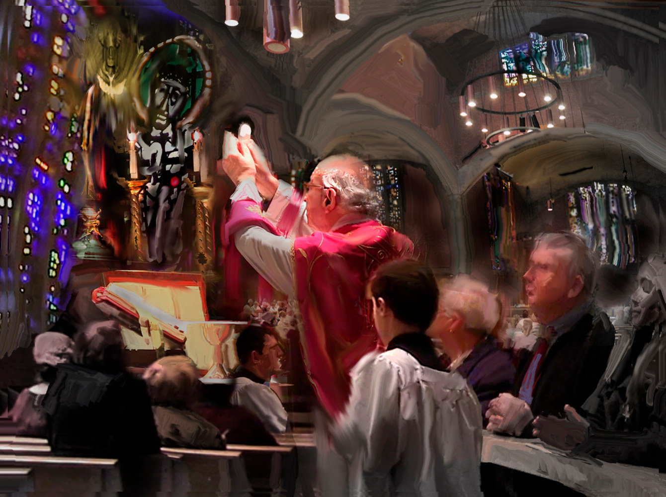 Watercolor Latin Mass Community by Bernard Dick