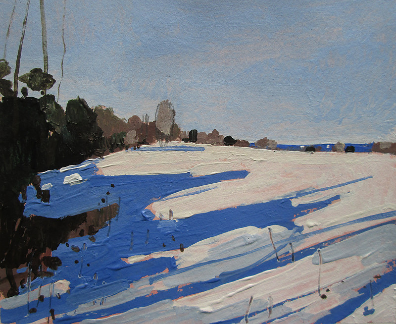 Acrylic painting Snow Shadows by Harry Stooshinoff