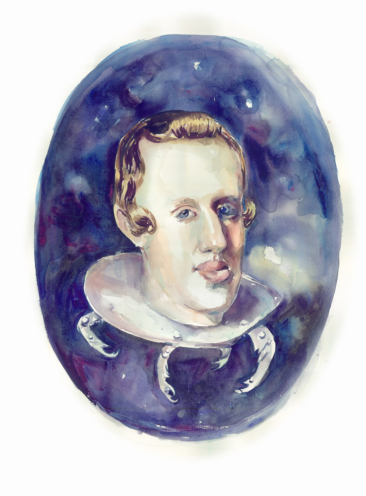 Watercolor Intergalatic Arstrocratic Space Alien (Velázquez) by Mary Hayes