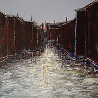Acrylic painting Storehouses No. 2 by David Tycho