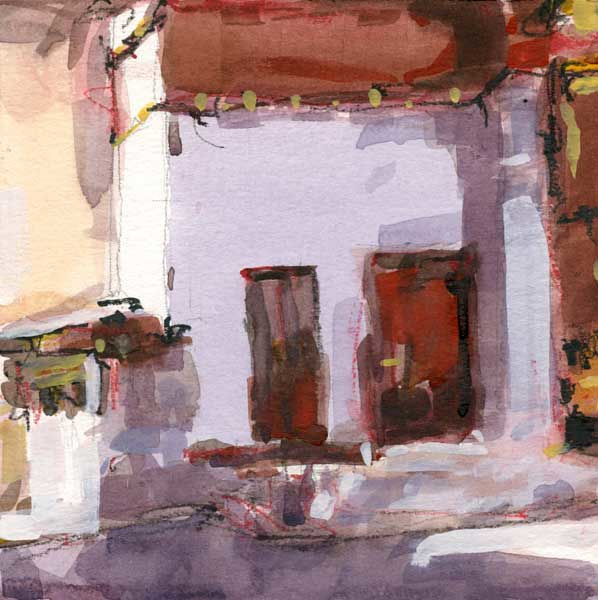 Watercolor Temple Doorways - Bhutan by William Sharp
