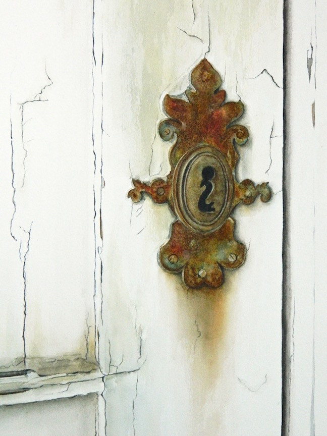 Watercolor Spanish Escutcheon by Jane Crosby