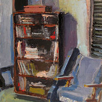 Oil painting Studio Bookcase by William Sharp