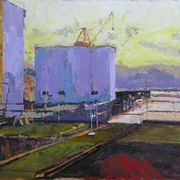 Oil painting Shipyard Sunset - SOLD by William Sharp