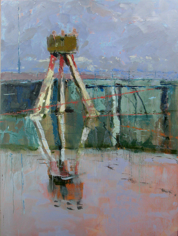 Oil painting Lone Mooring Dolphin by William Sharp