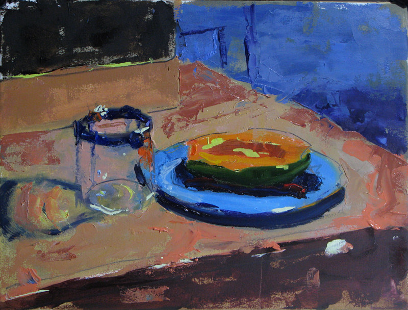 Oil painting Papaya and Water Glass by William Sharp